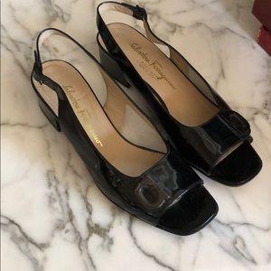 Ferragamo Black Patent Block Heeled Sandal